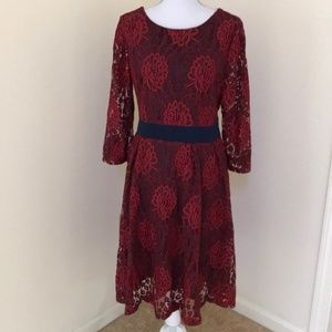 New! Ouges XL red lace overlay 3/4 sleeve dress